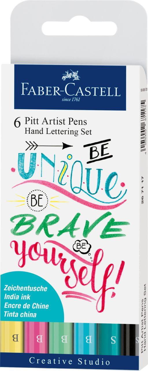 Hand Lettering 6pcs 267116 Faber-Castell Indian Ink PITT Artist Pens