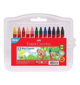 Faber-Castell - Wax crayon, clamshell of 12