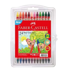 Faber-Castell - Wax crayon, clamshell of 24