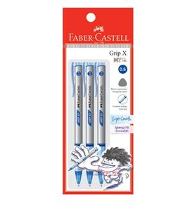 Faber-Castell - Ballpoint pen Grip X5 0.5mm, blue, blistercard of 3