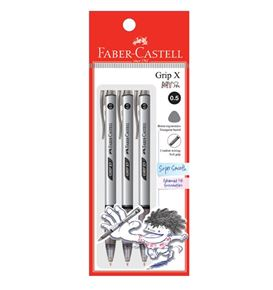 Faber-Castell - Ballpoint pen Grip X5 0.5mm, black, blistercard of 3