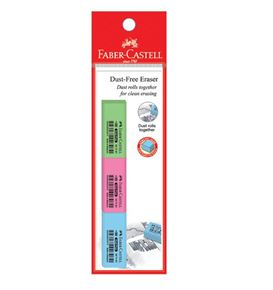 Faber-Castell - Eraser Dust-free 7086-30, Pastel, blistercard of 3