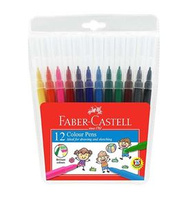 Faber-Castell - Fibre tip colour pen, wallet of 12