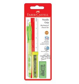 Faber-Castell - Mechanical pencil Needle Grip 0.5 with leads, ruler & eraser