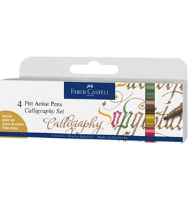 Faber-Castell - India ink Pitt Artist Pen Calligraphy 4ct wallet, colours