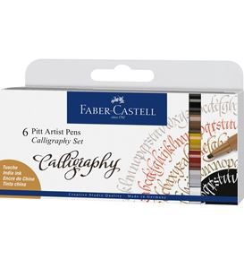 Faber-Castell - India ink Pitt Artist Pen Calligraphy 6ct wallet