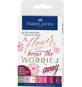 Faber-Castell - India ink Pitt Artist Pen Hand Lettering 8ct wallet pink