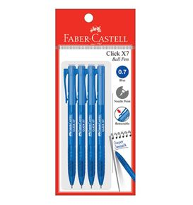 Faber-Castell - Ballpoint pen Click X7 0.7mm, blue, blistercard of 4