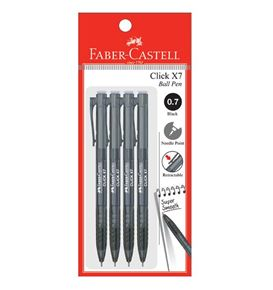 Faber-Castell - Ballpoint pen Click X7 0.7mm, black, blistercard of 4
