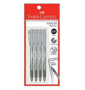 Faber-Castell - Ballpoint pen Click X5 0.5mm, black, blistercard of 4